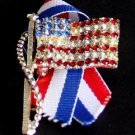 Vintage USA Flag Rhinestone Patriotic Pin/Brooch