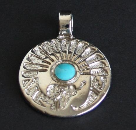 Vintage South West Blue Turquoise Chunky Pendant