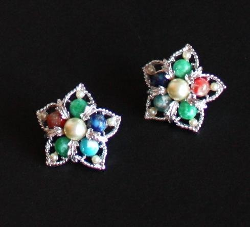 Vintage Sarah Cov Colorful Glass Clip On Earrings