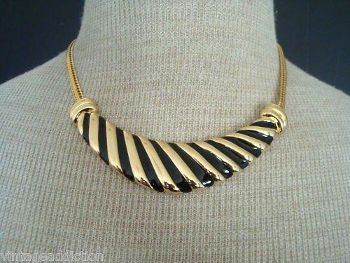 Bold & Chunky Vintage Black Stripes Enamel Bib Necklace
