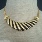 Bold & Chunky Vintage Black Stripes Enamel Bib Necklace