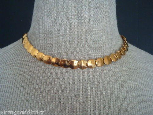 Unique Vintage Gold Flake Choker Necklace