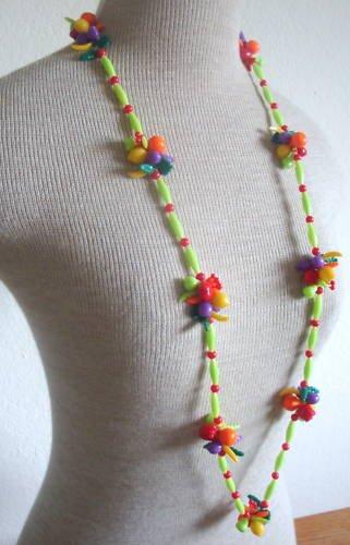 Vintage Fruit Salad Colorful Plastic Long Necklace 1960