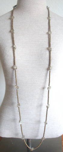 Vintage Art Deco White Button Glass Long Strand Necklac