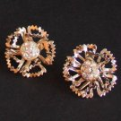 Vintage Sarah Cov Carnation Gold Tone Clip On Earrings