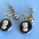 Vintage Cameo Dangle Screw Back Earrings