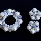 Vintage White Baroque Crystal Brooch Earrings Set
