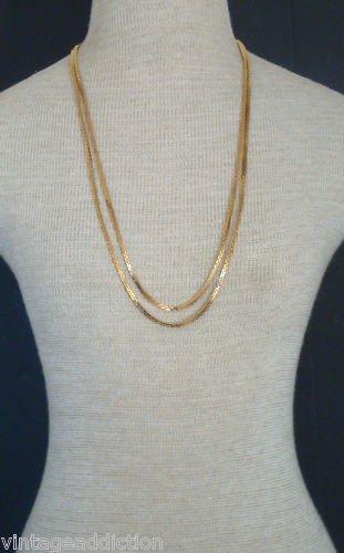 "Elegant Vintage Crown Trifari  Gold 29"" Chain Necklace"