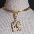 Vintage Bold Egyptian Tiger Choker Necklace Chunky