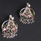 Vintage Hand Painted Asian Dangle Screw Back Earrings