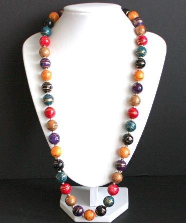Vintage Hand Painted Colorful Bead Necklace