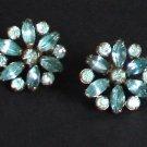 Vintage Art Deco Blue Rhinestone Prongset  Earring