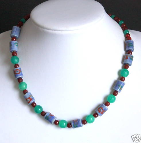 Vintage Blue Green Hand Painted Bead Necklace