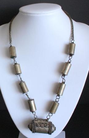 Vintage Art Deco Silver Barrel Necklace/Pendant Unique!