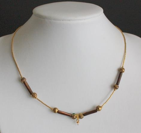 Vintage Art Deco Era Brown Glass Bead Necklace