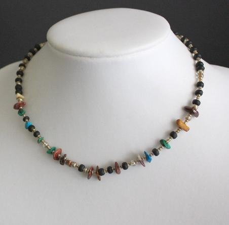 Vintage Art Deco Era Egyptian Stone Choker Necklace