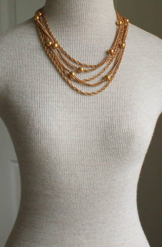 Vintage Gold Tone Multi Layer Necklace