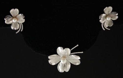 Vintage Argo & Lehne Pearl Sterling Brooch Earrings Set