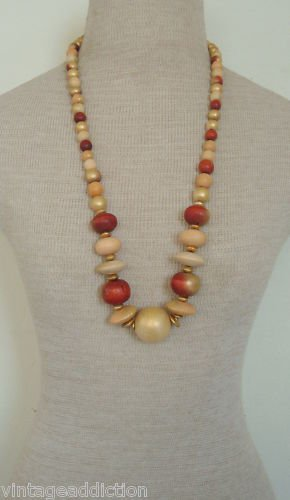 Eclectic Vintage Chunky Oversize Wood Bead Necklace