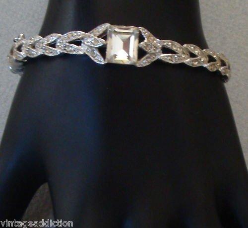 Vintage Encrusted  White Rhinestone Bracelet