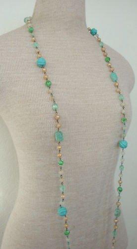 Vintage Art Deco Aquamarine Glass  Long Strand Necklace