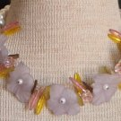 Vintage Chunky Pink Glass Flower Choker Necklace