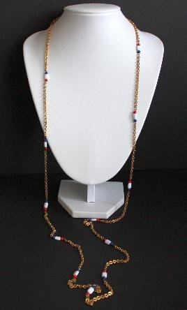 Vintage Colorful Long Strand Gold Tone Necklace 54""