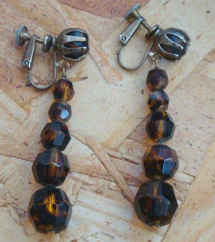 Vintage  Brown Amber Long Dangle Screw Back Earrings