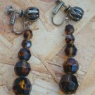 Vintage  Brown Amber Long Dangle Screw Back Earrings