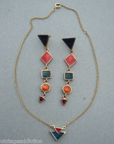 Vintage Sarah Cov Vibrant Long Earrings & Necklace Set