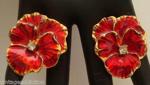 Vintage Deep Red Flower Rhinestone Earrings
