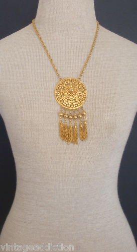 Regal Vintage Multi Tassel Gold Statement Necklace