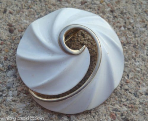 Vintage White Cream Enamel Pin Brooch Signed Torino