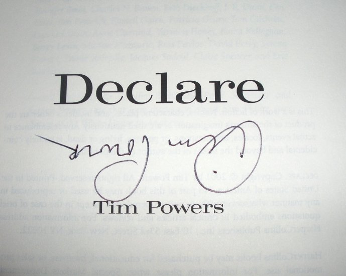 Declare by TIM POWERS Hardcover with Dust Jacket 2001 1st Edition SIGNED