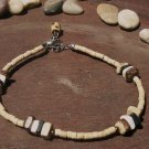 BEADED NATURAL WOOD ANKLET WITH DANGLE CHARM
