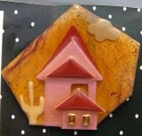Lucinda House original  pin south western  orange glitter