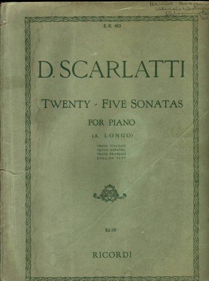 D. Scarlatti 25 Sonatas for Piano vintage sheet music