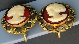Antique Cameo Screw back earrings