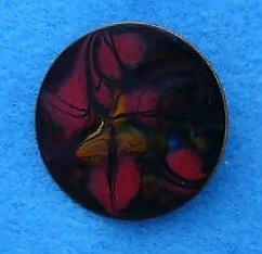 Vintage copper red enamel Metallic pin brooch