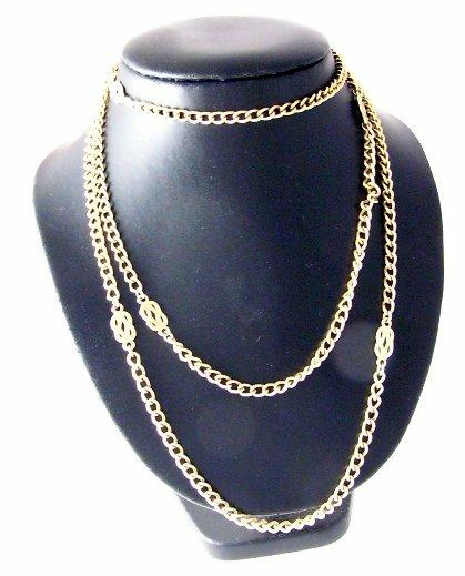 Vintage Goldtone Monet Necklace Long  knot design
