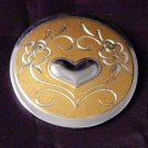 Gorham Sterling Vermeil Silver Pin  heart scroll work