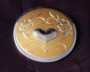 Gorham Sterling Vermeil Silver Pin  heart scroll work