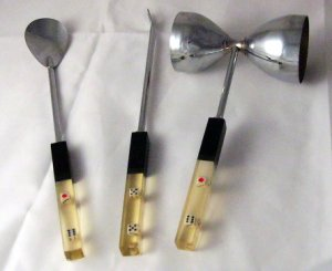 Roll the Dice Bar tool Set Lucite clear handles Vintage retro
