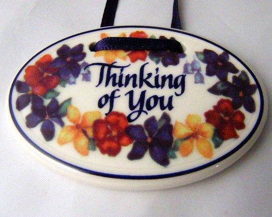 Thinking of You Tie one on  LONGABERGER Basket Ceramic