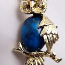 Who are You VTG Gerrys Owl pin Green rhinestone eyes blue belly