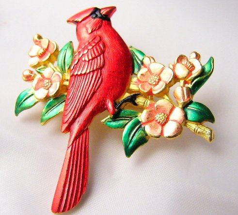 Birds are Singing  RED Cardinal on flowers  Signed By JJ Pin