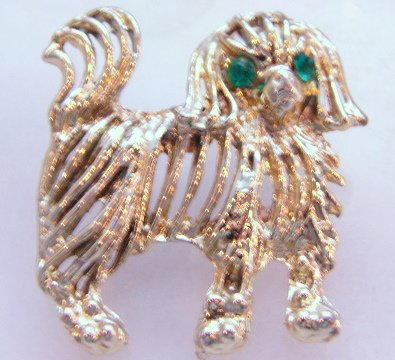 How much is that Doggie Dog pin Goldtone Green rhinestone Eyes