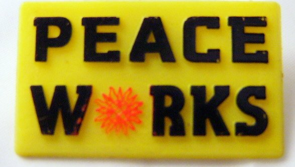 Way  Cool Retro Peace Sign Button Tack Atomic