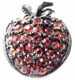 Retro orange red rhinestones apple black metal pin brooch