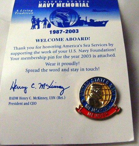 United States Navy Memorial Membership pin 2003